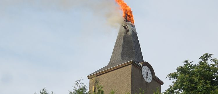 Bell tower on fire
