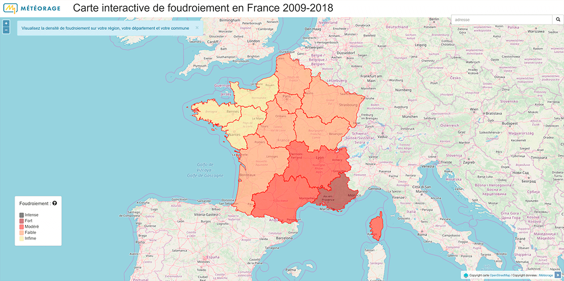 Carte interactive de foudroiement en France